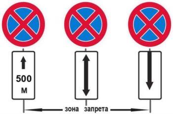 Дополнения обозначающие зону действия знака Остановка Запрещена