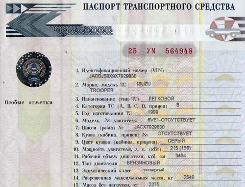 Как выглядит паспорт транспортного средства?